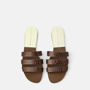 NWT ZARA LEATHER SLIDES